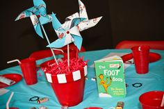 """Made from old Cat in the Hat books!    Photo 6 of 33: First Birthday/Dr. Seuss / Birthday """"Logan's Dr. Seuss First Birthday""""   Catch My Party"""