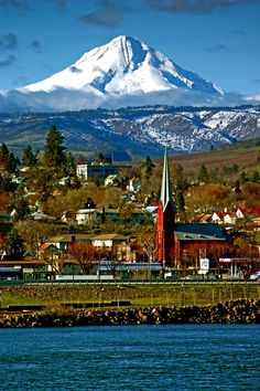 Mt. Hood, Oregon, US ~ The Dalles near Mt. Hood in Eastern Oregon. The mountain is the side I haven't seen as much growing up on it's west side.