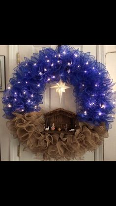 Unique and beautiful Nativity wreath Christmas DIY Christmas Wreaths for Front Door Wreath Crafts, Christmas Projects, Holiday Crafts, Holiday Fun, Wreath Ideas, Deco Mesh Crafts, Christmas Ideas, Christmas Thoughts, Christmas Printables