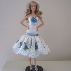 Flirty Barbie doll dress made from vintage hankie
