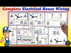 Complete Electrical House Wiring / Single Phase Full House Wiring Diagram - YouTube Electrical Engineering Books, Engineering Notes, Electrical Diagram, Electrical Wiring Diagram, Electrical Projects, Electrical Installation, House Wiring Basics, Trailer Light Wiring, Simple Electronics