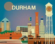 Durham, North Carolina Skyline - Destination Art print for Housewarming, Grad, Anniversary, Birthday Gift - style E8-O-DUR on Etsy, $26.00