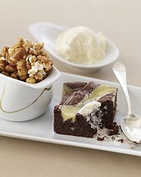 Mascarpone-Swirled Brownies with Nutty Caramel Corn Recipe - cooked only 30 min in metal pan