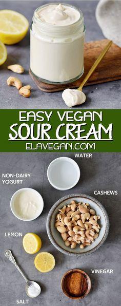 Sour Cream Substitute, Vegan Recipes Plant Based, Whole Food Recipes, Dairy Free Recipes Easy, Gluten Free, Cold Pasta Dishes, Almond Yogurt, Dairy Free Yogurt, Dressings