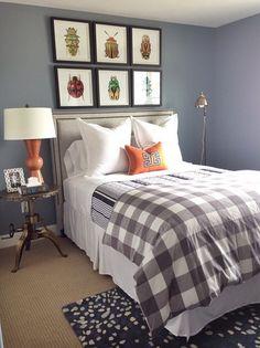 interiors by alice lane home collection   the dublin, parade of homes, boys room, bug artwork, crank table, metal nightstand, orange lamp, gray bedding, buffalo plaid, stripes, orange pillow, gray walls