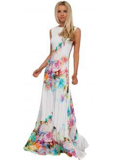 Rebecca Rhoades RiRi Dress Maxi With Open Tie Back In White Print