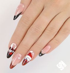 Step-by-Step Tutorial to Creating Santa Claus and Rudolph Patterned Christmas Nail Art Holiday Nail Art, Winter Nail Art, Christmas Nail Art, Winter Nails, Santa Nails, Xmas Nails, Nail Patterns, Pattern Nails, Nail Art Videos