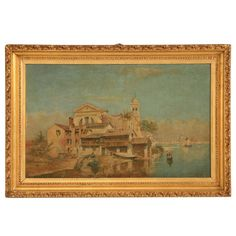 Squero di San Trovaso, an old gondola boatyard on the Dorsoduro in Venice | From a unique collection of antique and modern paintings at https://www.1stdibs.com/furniture/wall-decorations/paintings/