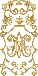 Bridal Logo, Church Banners, Gold Embroidery, Gold Work, Monogram Letters, Virgin Mary, Fabric Patterns, Machine Embroidery Designs, Needlework