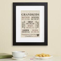 Grandma & Grandpa will cherish this gift...and it's a great reminder of the grandkids' birthdates!