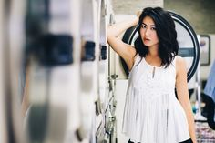 Laundry Mat Photoshoot with Joy L of Ford Models Wearing Shimmer Clothing