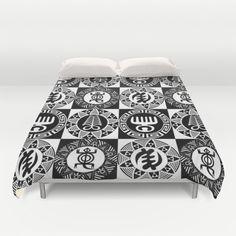African Bedding, Adinkra Aya, Duafe, Gye Nyame, Denkyem Duvet Cover, Black and White, Queen Duvet Cover, Full Duvet Cover, King Duvet Cover $125