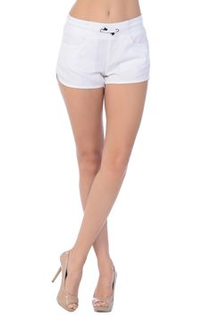 Drawstring Tie Up Belted Linen Cargo Shorts- White