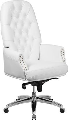 High Back Traditional Tufted White Leather Multifunction Executive Swivel Chair w/ Arms - Flash Furniture button tufted executive office chair combines old world craftsmanship with modern seating principles, giving you a chair that fee High Back Office Chair, Swivel Office Chair, Ergonomic Office Chair, Office Desk, White Leather Office Chair, Leather Chairs, White Office, Conservation, Traditional Office Chairs