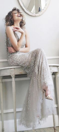 15. The 1920s Flapper gown  Silver is DEFINITELY a valid choice for your big day - especially if it's as beautiful as this.