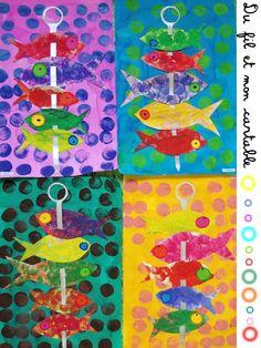 """Une année """"poisson"""" se termine ...   Une artiste étudiée:   Marine B et ses poissons ...   Il y a d'autres oeuvres colorées très """"inspi..."""