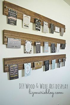 DIY Wood & Wire Art display. Cool for all those save the dates, baby shower, and wedding invites.