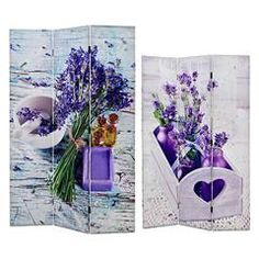 PRINTED CANVAS SCREEN W/LAVENDER 120X2X180