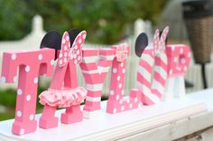 Custom Wood Letters for any occasion by Vanessa Grant Events. - Kinsley Baby Name - Ideas of Kinsley Baby Name - Custom Wood Letters for any occasion by Vanessa Grant Events. Painting Wooden Letters, Diy Letters, Letter A Crafts, Painted Letters, Letters Decoration, Wood Letters Decorated, Baby Mouse, Minnie Mouse Party, Mini Mouse