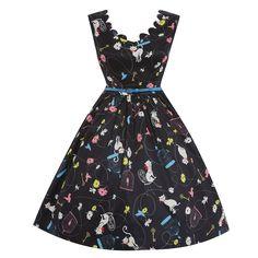 'Daria' Black Birdcage and Cat Print Swing Dress