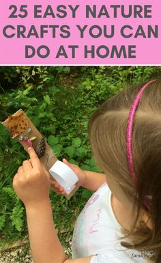 25 fun & easy nature crafts that you can do when you're stuck at home with the kids. Perfect for keeping kids entertained and active! Easy Craft Projects, Crafts To Do, Home Crafts, Crafts For Kids, Homemade Bird Feeders, Baby On A Budget, Craft Online, Leaf Crafts, Family Crafts