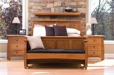 Aspen Solid Cherry with Inlay Bedroom Set<br /> All Sizes, Multiple woods and Finishes, Complete Line of Matching Pieces<br />Simply Amish Bedroom Furniture Stores, Furniture Making, Living Room Furniture, Bedroom Decor, Lounge Sofa, Panel Bed, Awesome Bedrooms, Bed Frame, Furniture Design