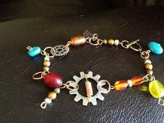Funky Beaded Industrial Charm Bracelet by MetalMomJewelry on Etsy, $28.00