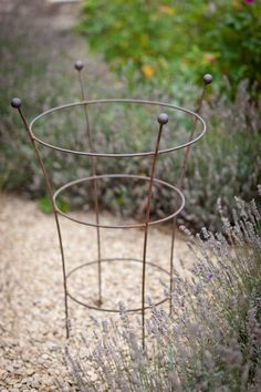 A stylish set of 2 aged metal plant supports