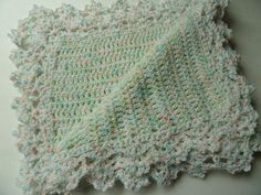 Crochet Baby Afghan Blanket Throw  Lacy Edge by CuteCrochetCorner, $25.00