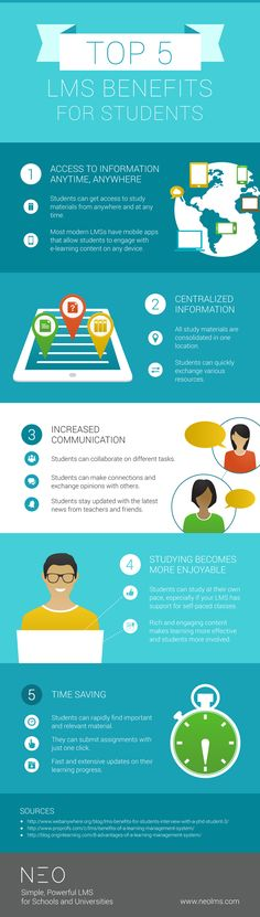 The Top 5 LMS Benefits for Students Infographic presents 5 ways in which learning management systems benefit students.