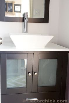 Espresso Vanity with Vessel Sink. Brentford vanity/basin andchrome faucet is from Virtu USA Bathroom Vanity Makeover, Bathroom Sink Vanity, Bathroom Sets, Small Bathroom, Vanity Basin, Decorating Rooms, Decorating Ideas, Home Remodeling, Diy Ideas