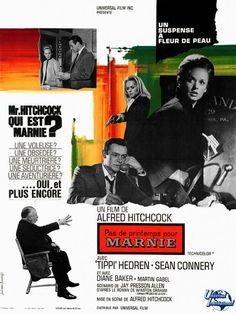 Great Movie Posters - Hitchcock: The Sixties (Part 1980's Movies, Great Movies, Movies Online, Tippi Hedren, Sean Connery, Alfred Hitchcock, Hitchcock Film, Film Mythique, Films Cinema