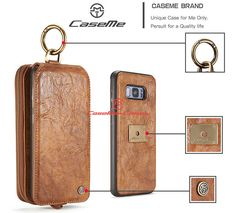 CaseMe Samsung Galaxy S8 Plus Zipper Wallet Magnetic Detachable Flip Leather Case