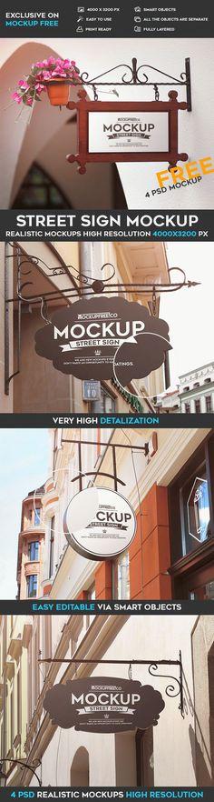 4 Free Street Sign PSD Mockups | Free PSD Templates | #free #photoshop #mockup #psd #street #sign