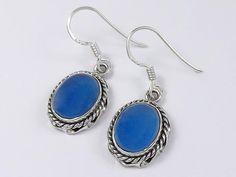 Sterling silver blue chalcedony earrings