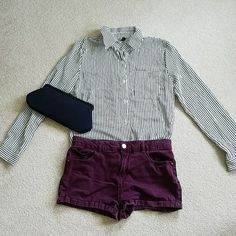 NWOT Deep Blue Long Sleeved Striped Collared Shirt NEVER WORN deep blue-almost black and white button down striped shirt. Ordered online through sammy dress but it didn't fit me. It was too small It is in asian size large. It probably fits more of an extra-small/small. Let me know if you have any questions! Tops Button Down Shirts