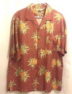 cf3ea143 Tommy Bahama L Hawaiian Aloha Shirt Pineapples Silk   Clothing, Shoes &  Accessories,