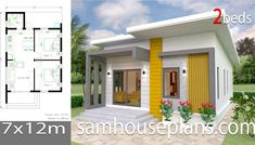 House design plan with 4 bedrooms. Style Modern Tropical House description: Number of floors 2 storey house bedroom 4 rooms toilet 3 rooms maid's room 2 Bedroom House Plans, Small House Plans, Simple House Design, Modern House Design, Modern Tropical House, Maids Room, Beautiful House Plans, Bungalow House Design, House Roof