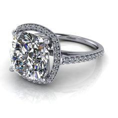 Cushion Cut Engagement Ring, Gold Engagement Rings, Wedding Matches, Wedding Bands, White Gold, Jewels, Moissanite, Trek