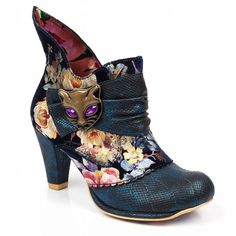 Irregular Choice Miaow 3432-02AK Womens Ankle Boots - Blue Floral