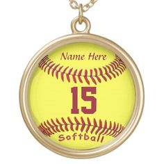 A great gift with your softball player's NAME and NUMBER or YEAR! Available also in sterling silver or silver plate, square of round, in different sizes.   CLICK HERE: http://www.zazzle.com/softball_necklaces_with_numbers_and_name-177185019452402630?view=113594129940756008&rf=238997772289119810  For other gifts for your sports fans and players, CLICK HERE:  http://www.zazzle.com/littlelindapinda?rf=238997772289119810  Easy text boxes let you Personalize for perfect gifts!