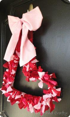 scrap fabric heart wreath