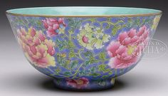 """FAMILLE ROSE PEONY FLOWERS BOWL.(356 views): FAMILLE ROSE PEONY FLOWERS BOWL. China, 19-20th c. YongZheng style famille rose bowl, depicting peony flowers against blue ground, the interior glazed teal, bottom with four character YONGZHENG mark. SIZE: 6"""" dia x 3"""" h. CONDITION: Good. 7-75468"""