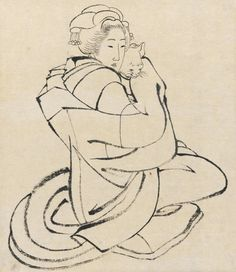 Lady Holding a Cat  ca. 1810s;    Katsushika Hokusai , (Japanese, 1760-1849)  Edo period;    Ink on paper;  H: 36.6 W: 29.5 cm  Japan;    Gift of Charles Lang Freer F1904.256   From the Freer Gallery of Art and Arthur M. Sackler Gallery