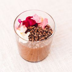 Vegan Chocolate Mousse, Almond Butter, Coconut Oil, Cacao Nibs, Edible Flowers, 2 Ingredients, Healthy Desserts, Baking, 1 Cup