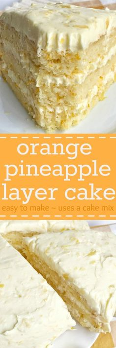 Orange pineapple layer is so easy to make. Uses a boxed cake mix plus a few other simple ingredients. The cake is so incredibly moist, light, and fresh tasting. The frosting is a simple pudding mix with crushed pineapple plus freshly whipped cream. This is the perfect dessert for Easter or summertime.
