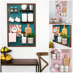Want to create some more space in your kitchen or just add a splash of color and organisation..?  Pin Peg & Home offer pegboards that come framed and ready to hang with all hardware provided.  #kitchen #kitchenpegboard #pegboardgarageorganization #kitchenorganization #kitchenstorage #spacesaving #pegboard #pegboardbaskets #pegboardshelf