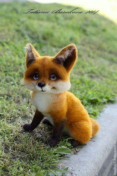 """Купить """"Пухтя"""" - рыжий, лиса, лисенок, войлочная игрушка, авторская игрушка, шерсть 100%"""