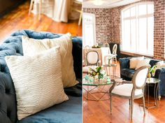 Cream-Colored Throw Pillows and Accent Chairs | Classic Southern Wedding at the Rice Mill | Dana Cubbage Weddings, Charleston SC Wedding Photography