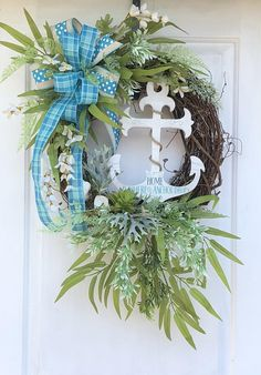 Beach Wreath Nautical Wreath Summer Wreath Anchor Wreath